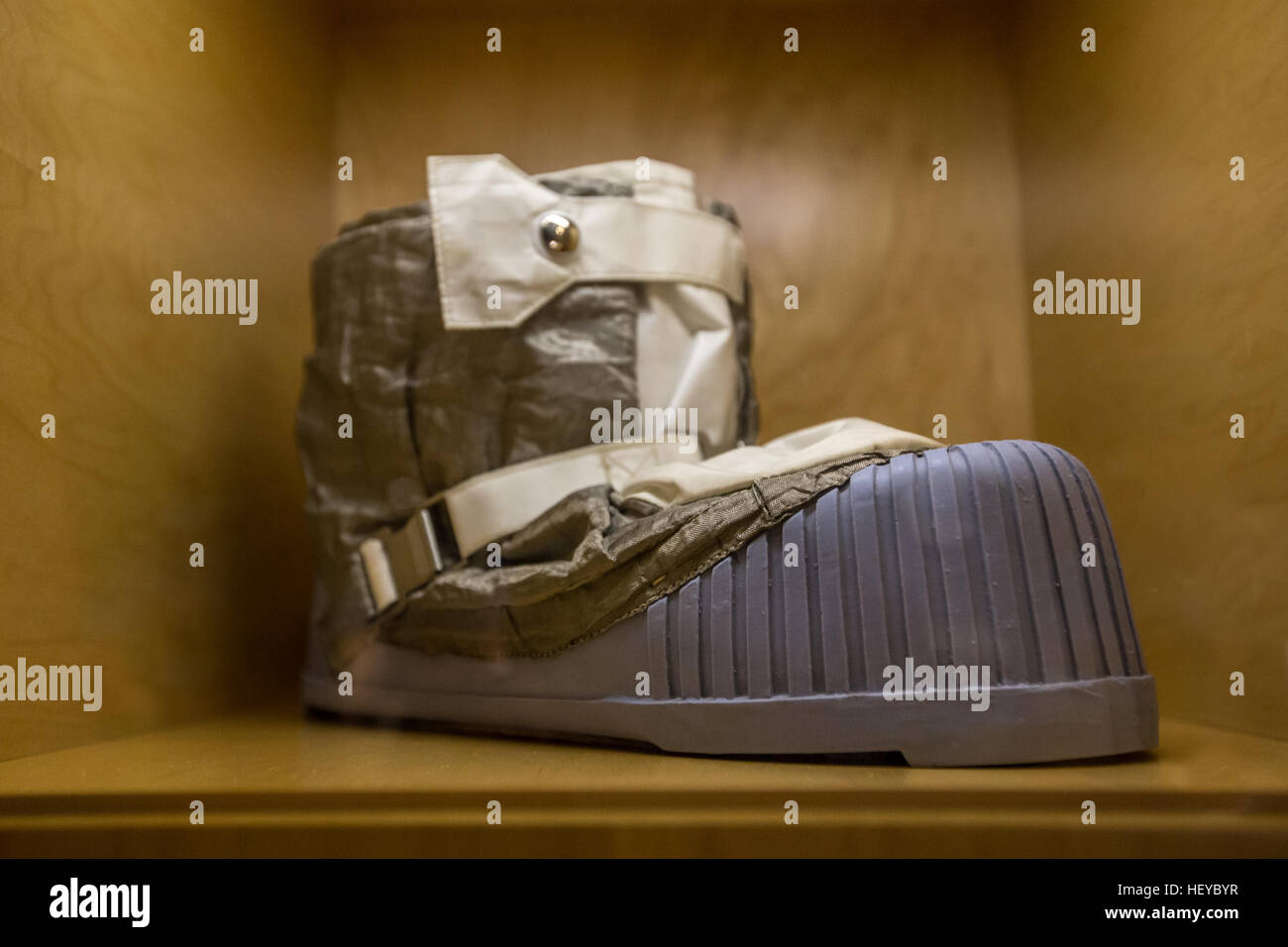space boot from the apollo spce program was made for astronaut jim lovell - Stock Image