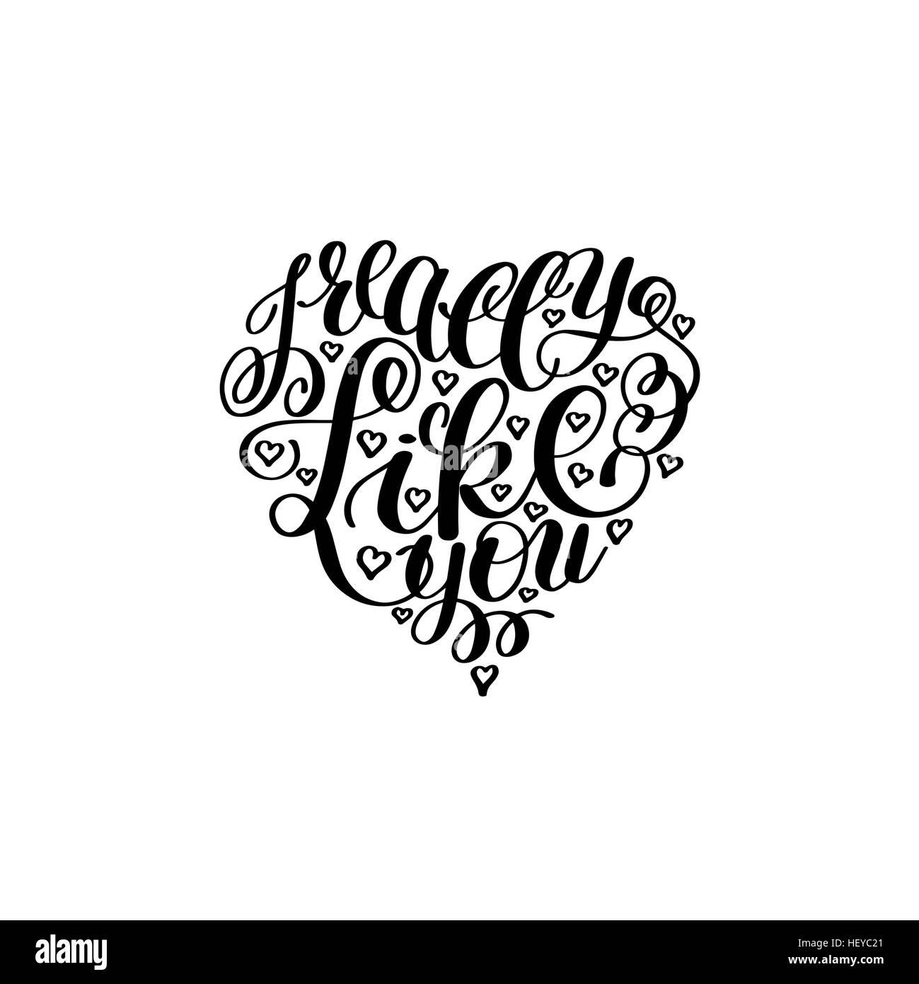 i really like you  love letter on heart shape  text english hand stock vector art  u0026 illustration