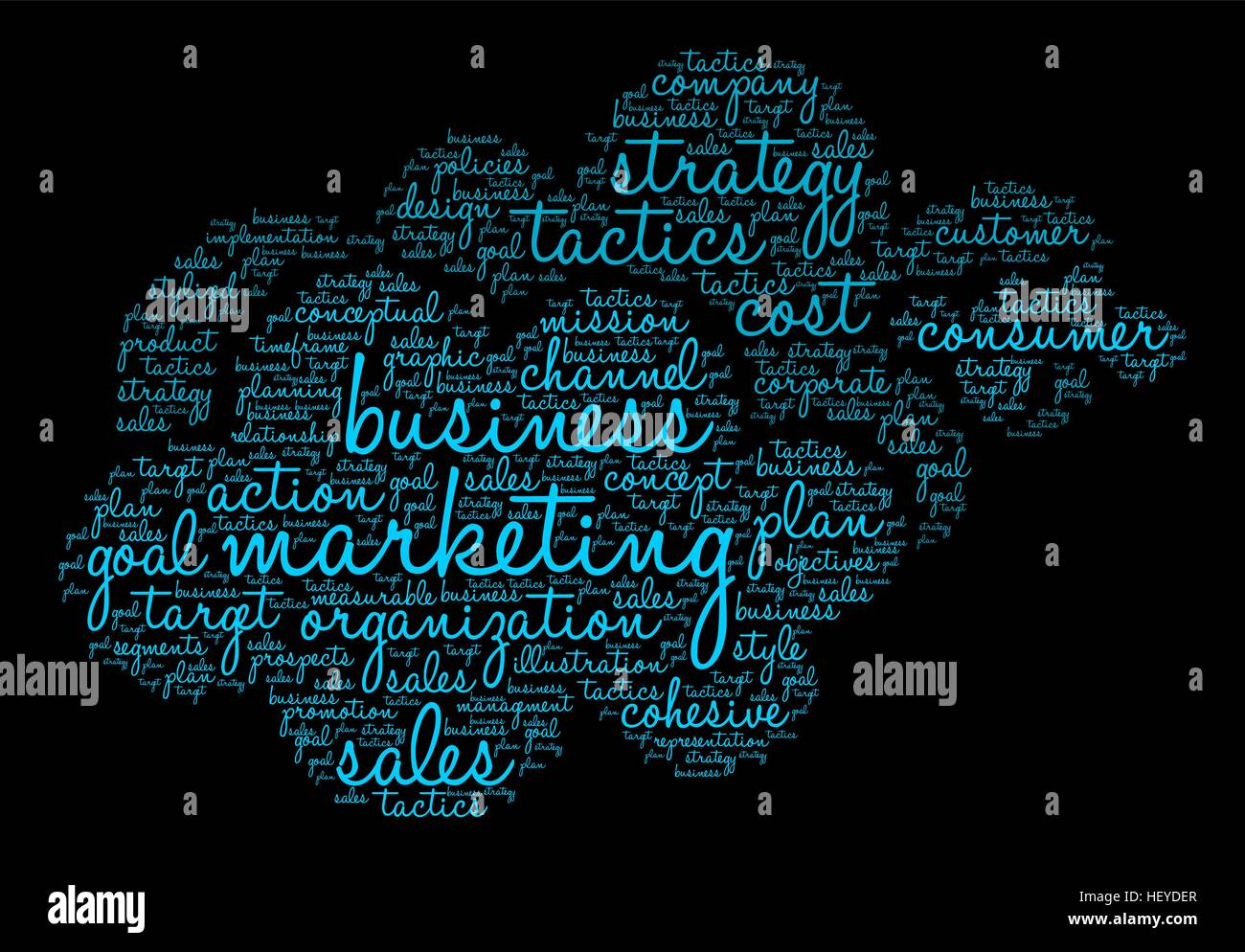 Marketing word cloud on a black background. - Stock Image