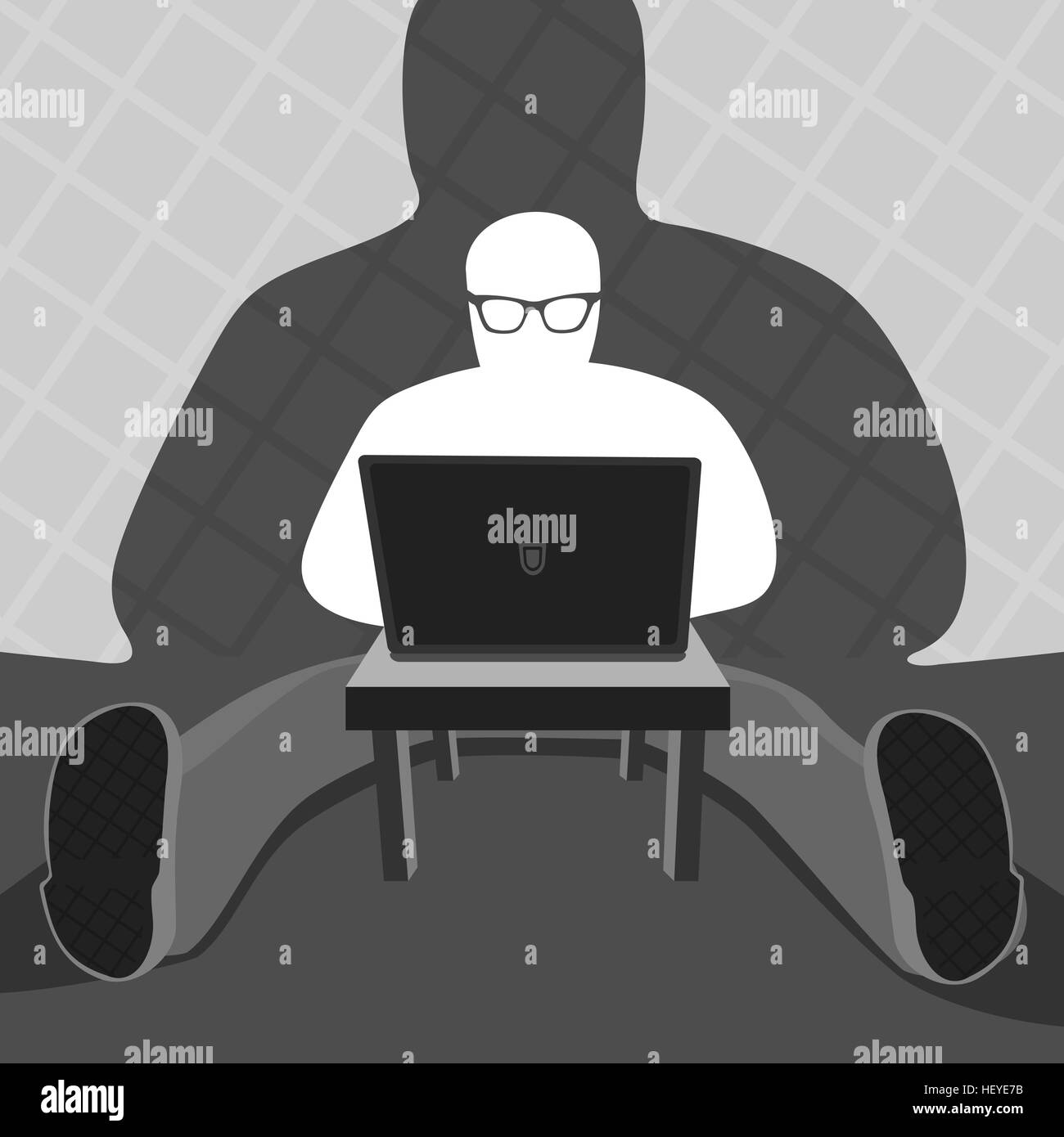 Anonymous User and Computer Vector Illustration - Stock Image