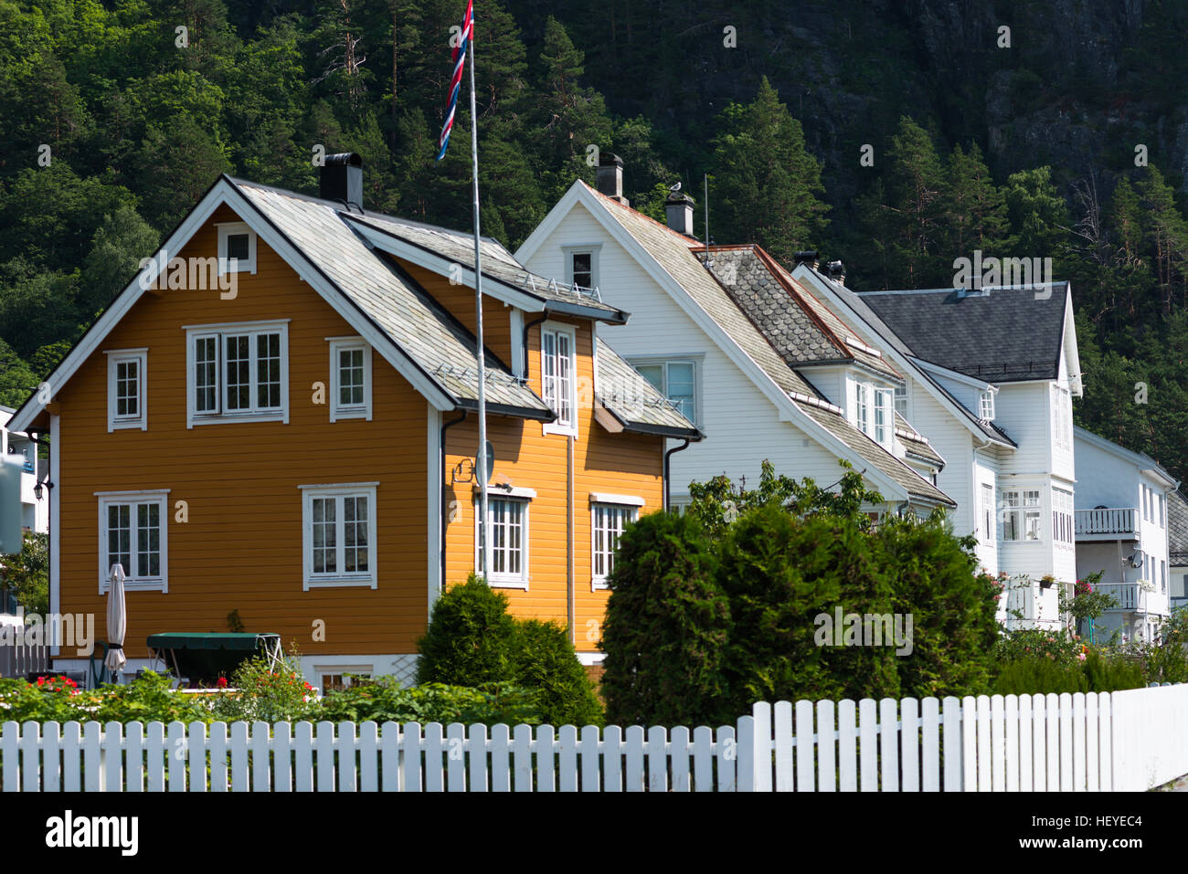 Traditional wooden houses in Olden, Norway. - Stock Image