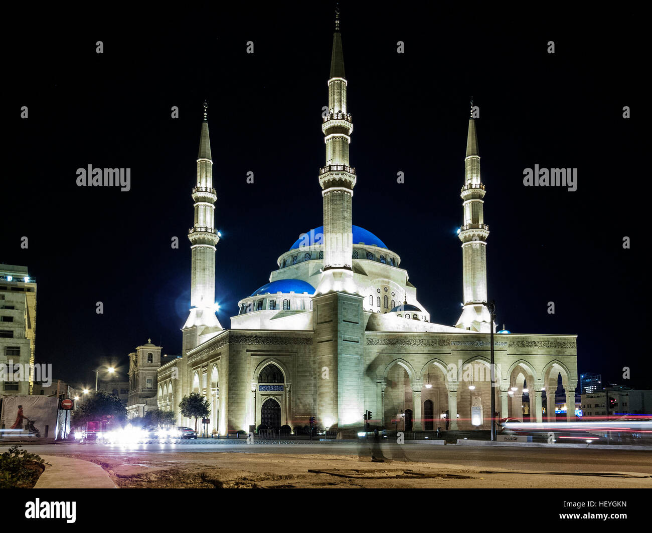 Mohammad Al Amin Mosque landmark in central Beirut city lebanon at night - Stock Image