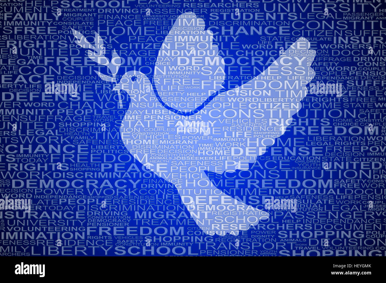 Dove shape for human rights with symbolic words for background - Stock Image