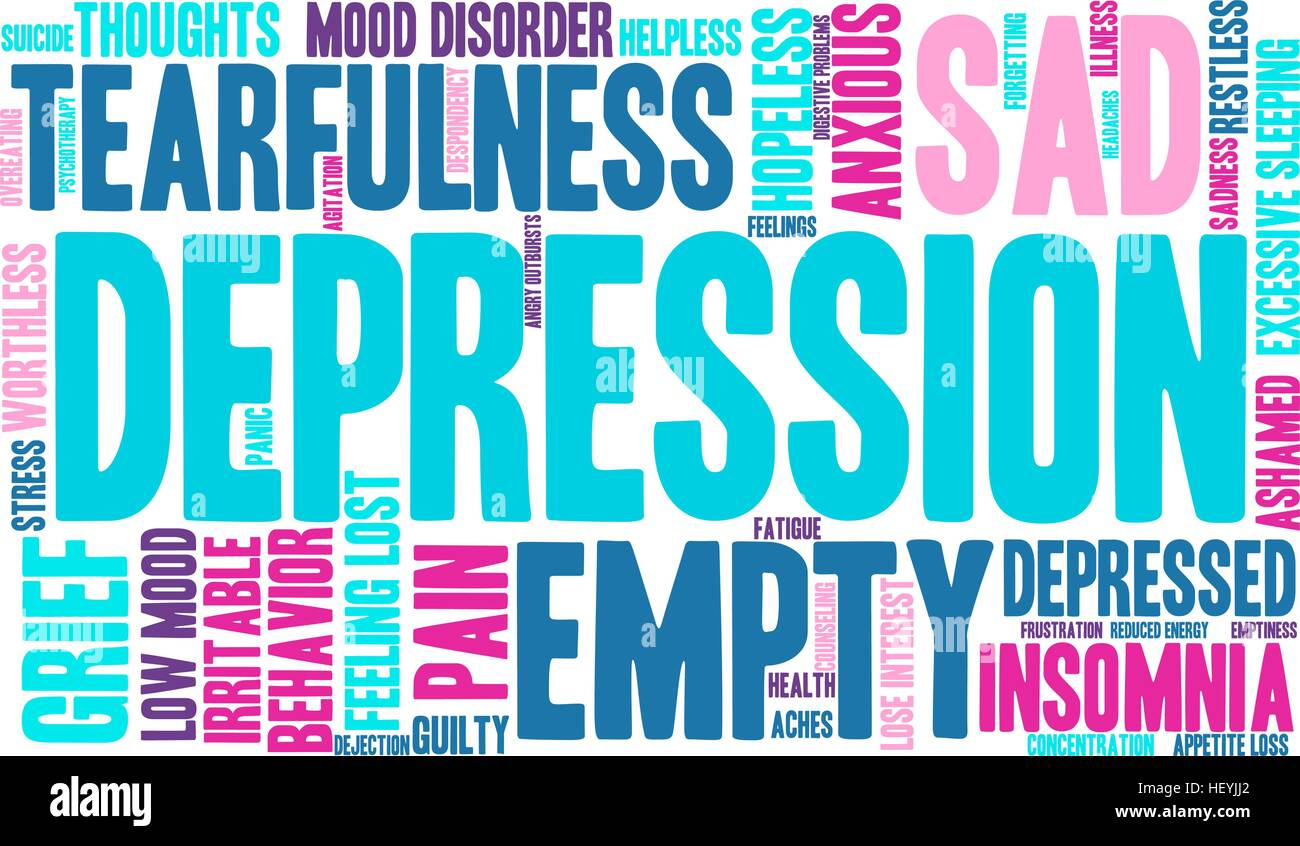 Depression word cloud on a white background. - Stock Vector