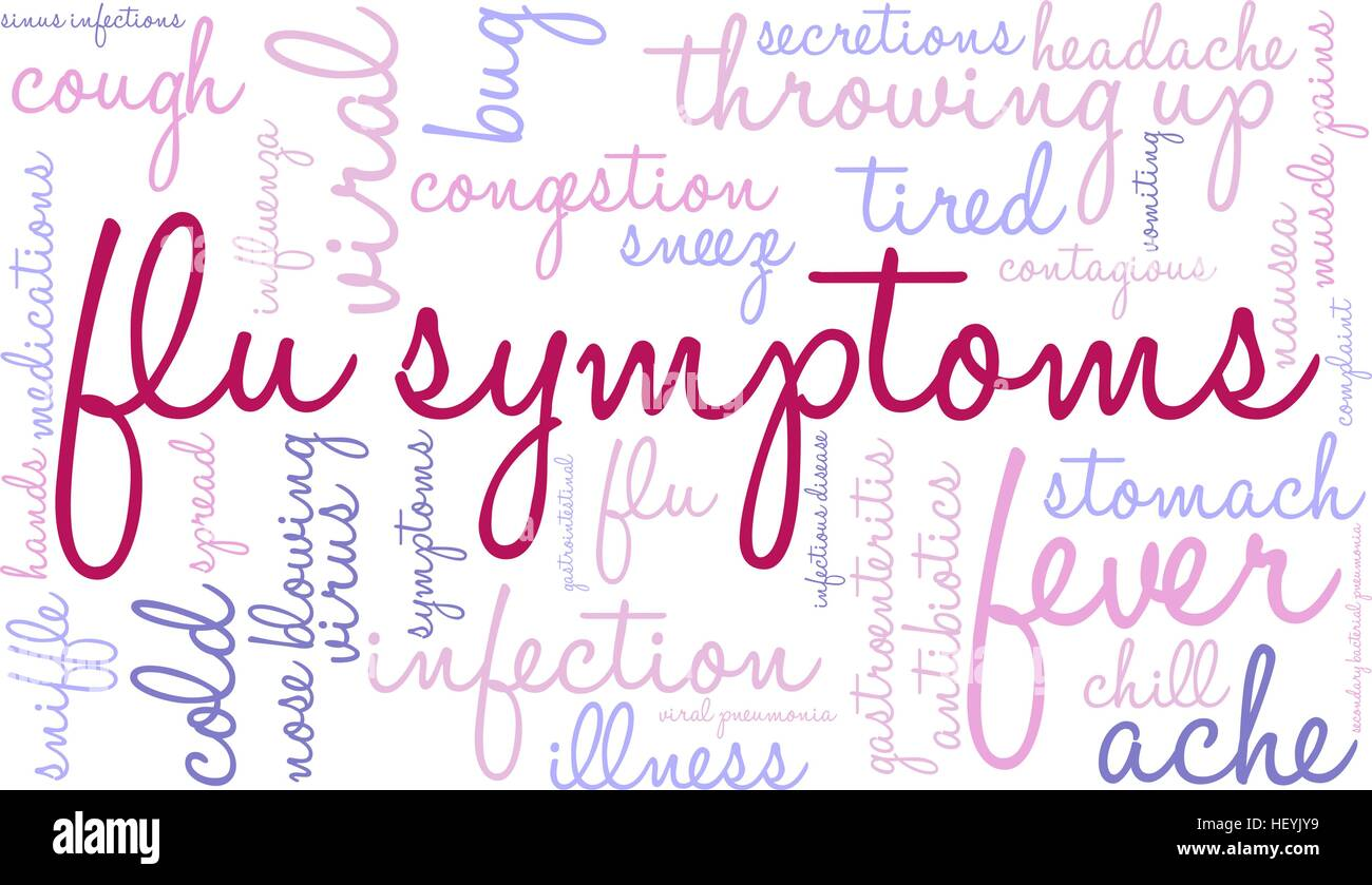 Flu word cloud on a white background. - Stock Image
