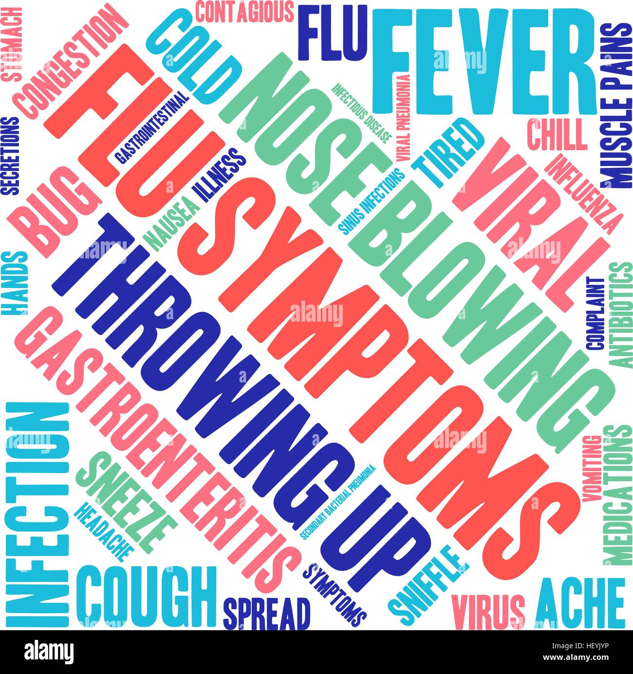 Flu word cloud on a white background. - Stock Vector
