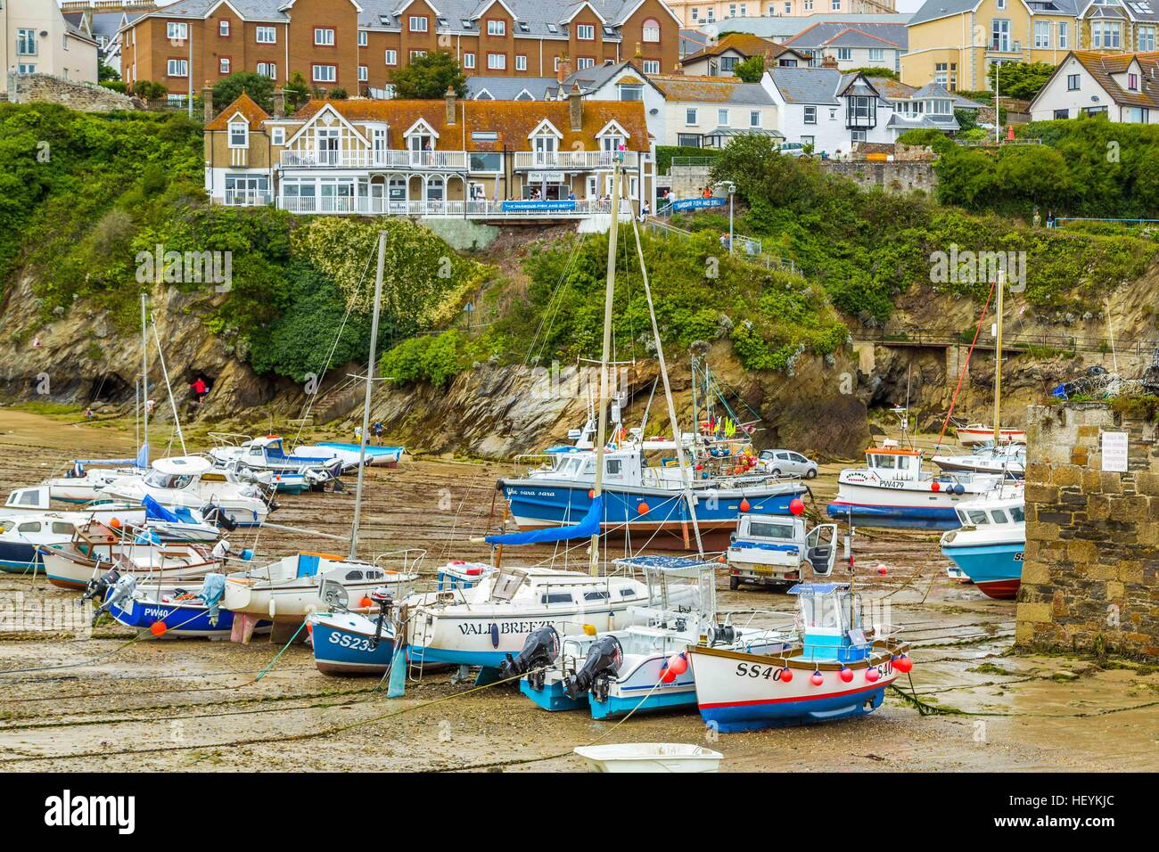 Boats in the picturesque harbour of Newquay in Cornwall, UK - Stock Image