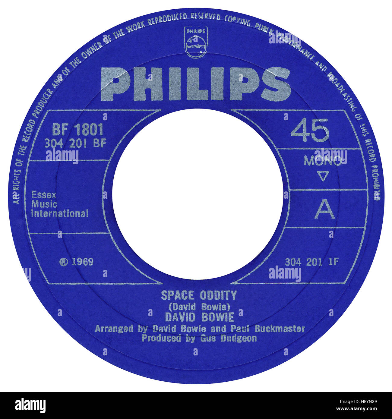 45 RPM 7' UK record label of Space Oddity by David Bowie on the Philips label from 1969 - Stock Image