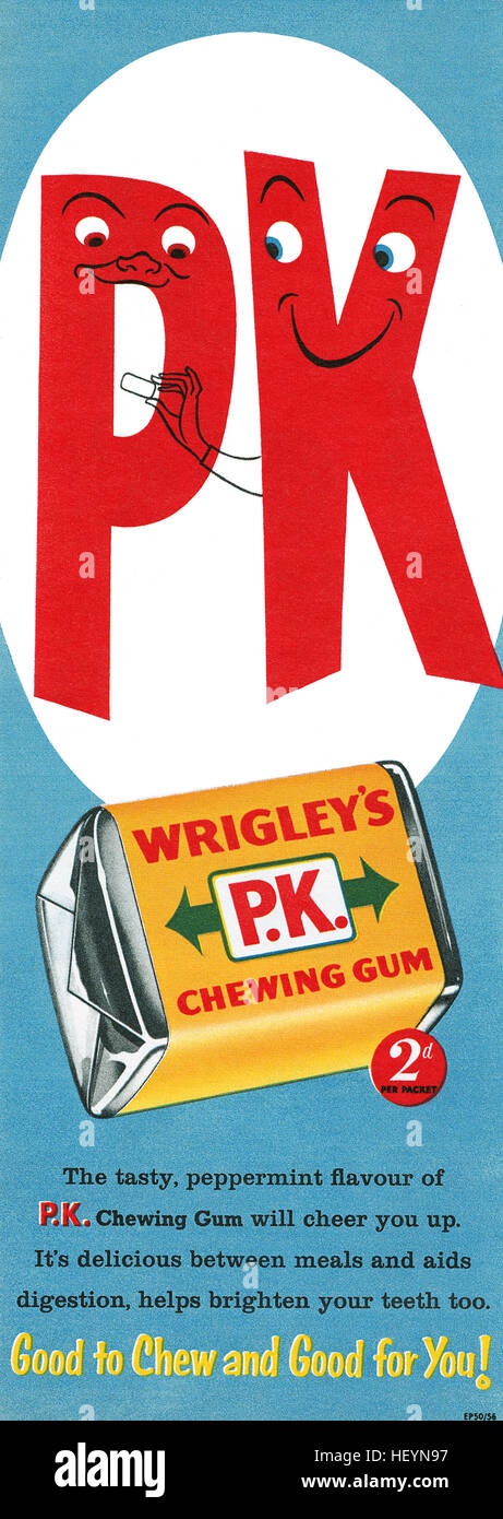 1956 British advertisement for Wrigley's P.K. Chewing Gum - Stock Image