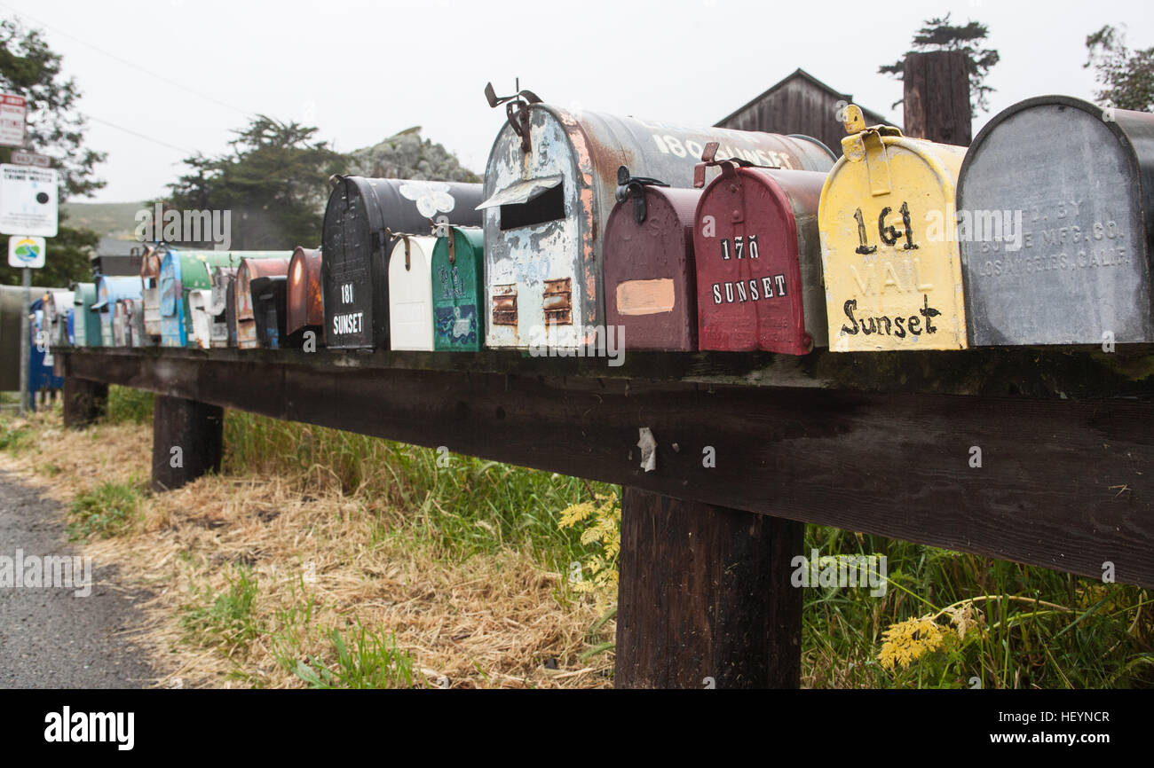 Mail, post, boxes, rural, location, on National Highway 1,Pacific
