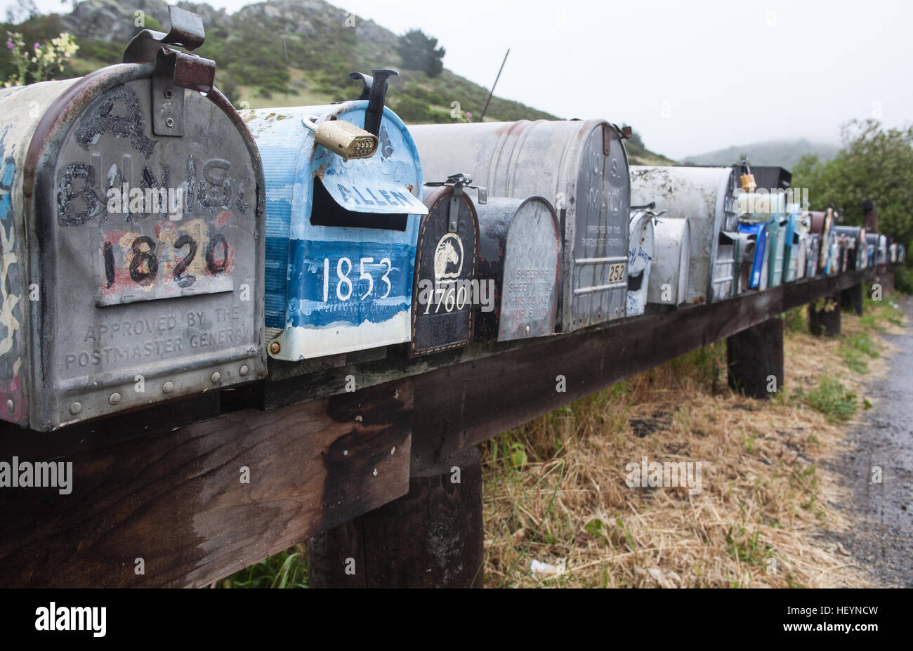 Mail, post, boxes, rural, location, on National Highway 1