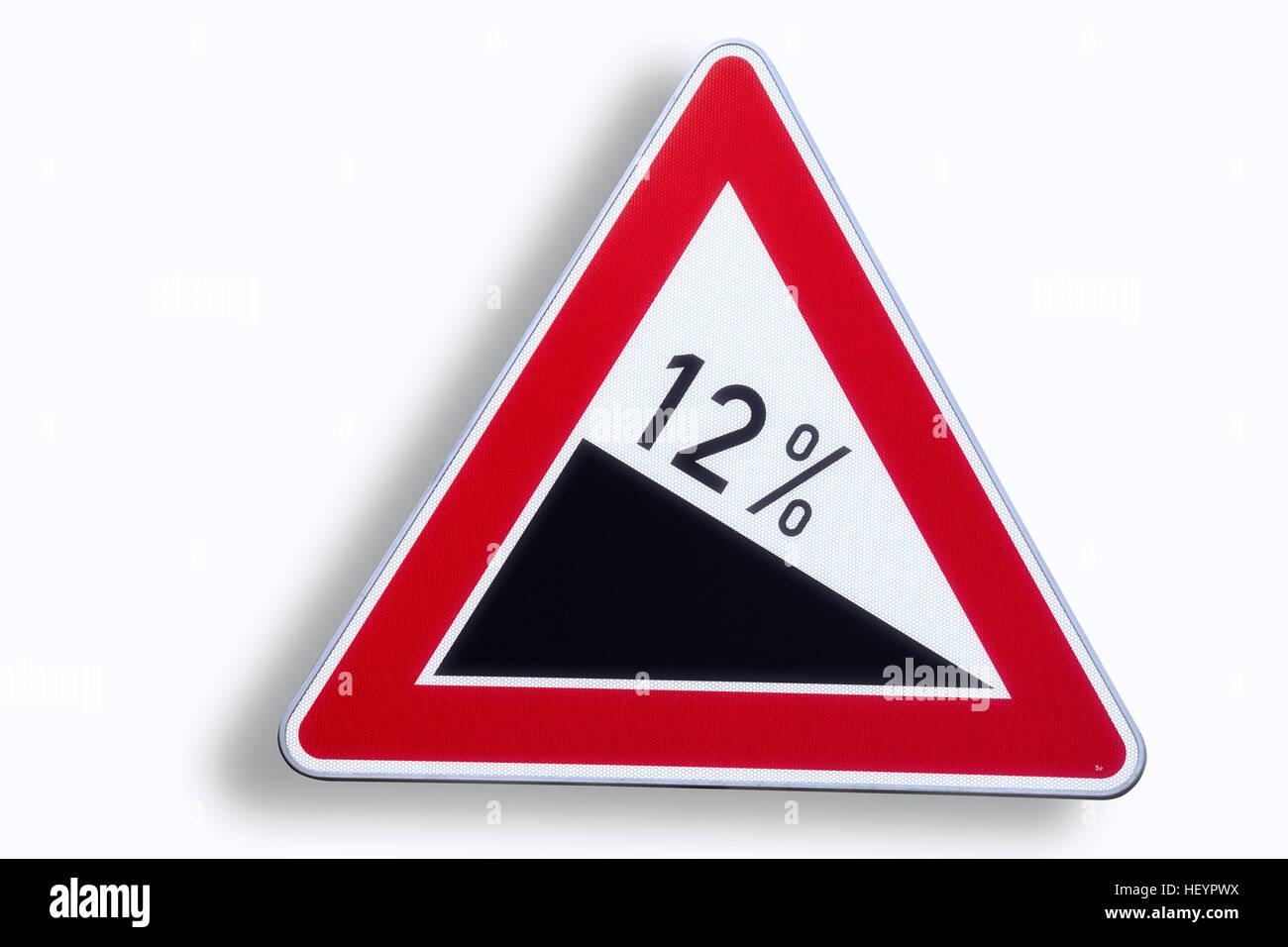 Road sign, warning, 12% gradient - Stock Image