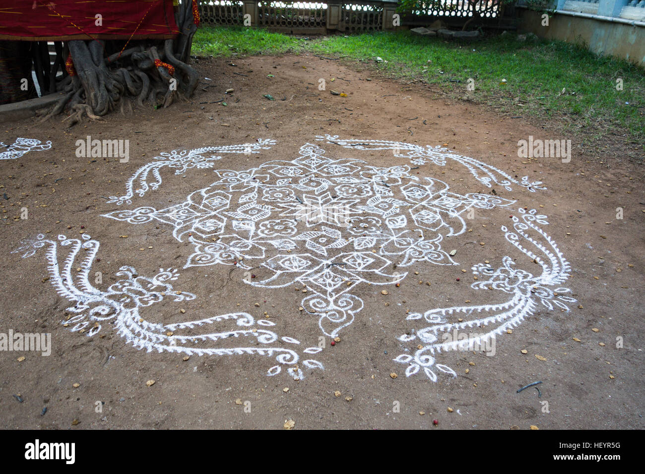 Rangoli design on a school courtyard in Hyderabad,India Stock Photo