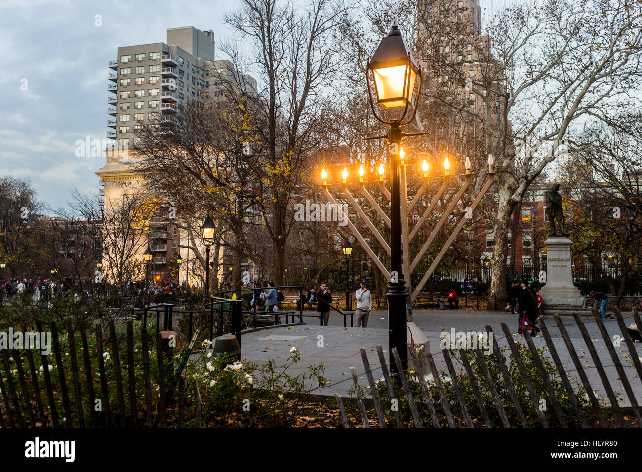 New York, NY 12 December 2015 - Chanukkah menorah in Washington Square Park sponsored by the Lubavitch at Washington - Stock Image
