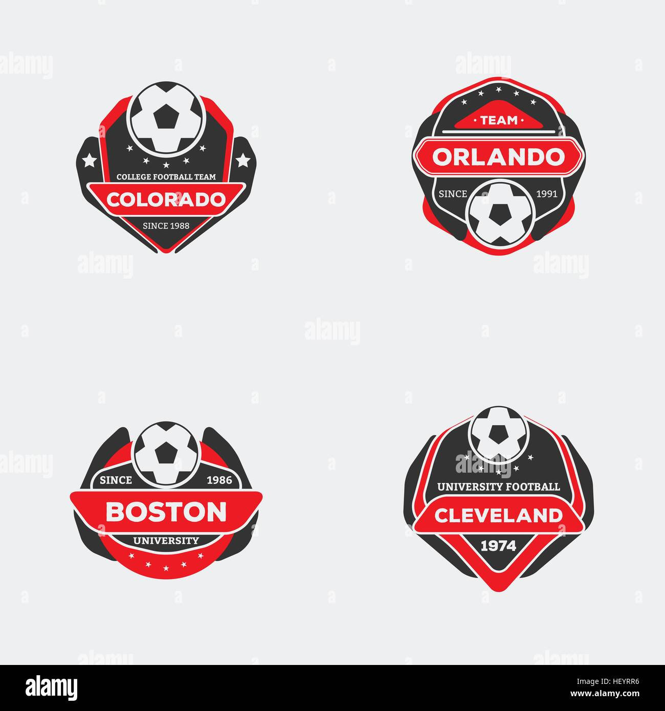 Set of football soccer team emblem sport team logo with ball red set of football soccer team emblem sport team logo with ball red and black color ready for printing on shirt biocorpaavc Choice Image