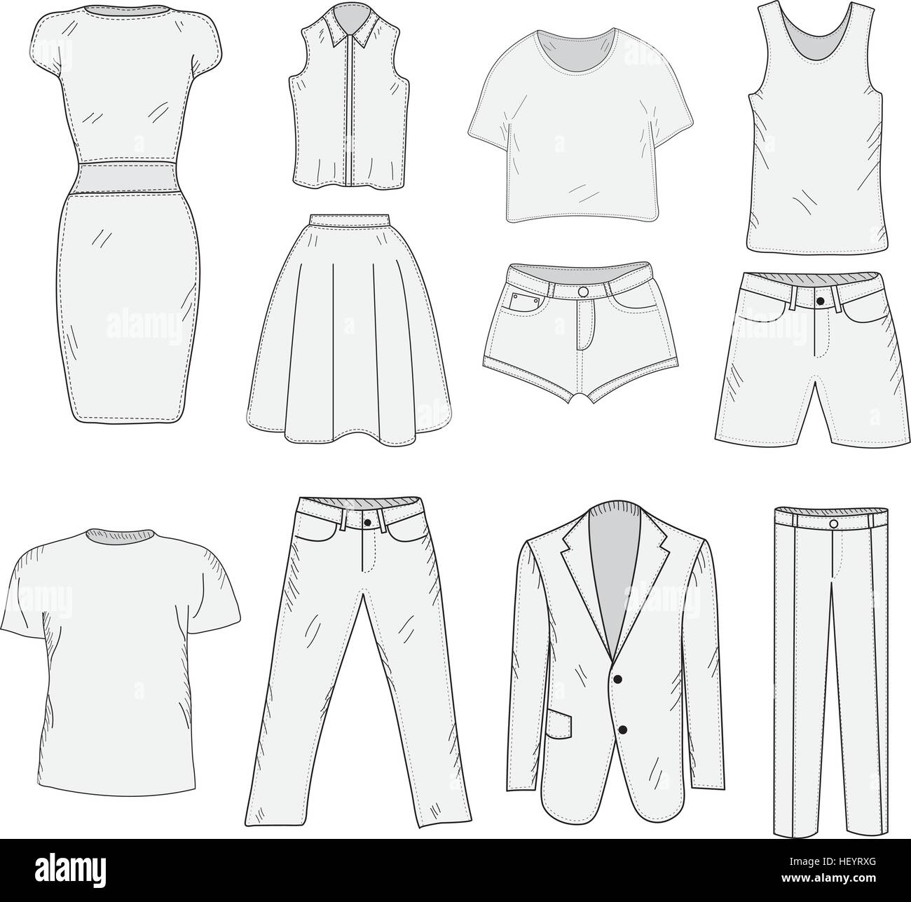 Men's and Women's Clothing set sketch. Clothes, hand drawing