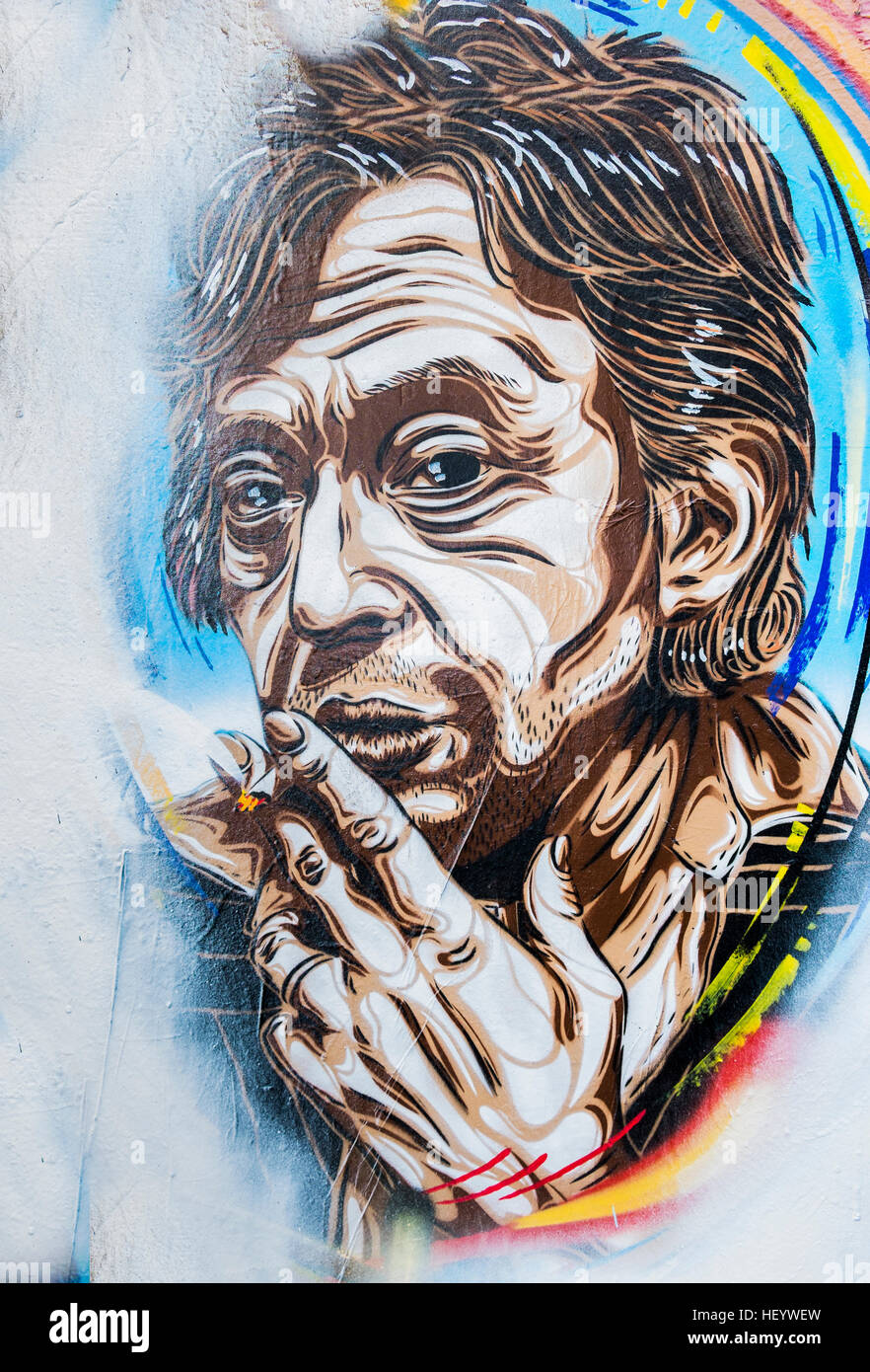 stencil graffito showing french composer and singer serge gainsbourg - Stock Image