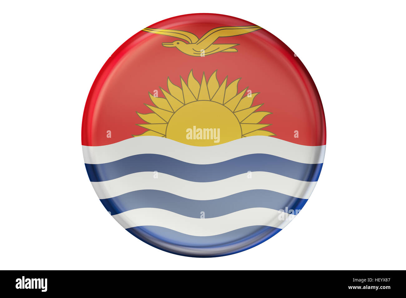 Badge with flag of Kiribati, 3D rendering  isolated on white background - Stock Image