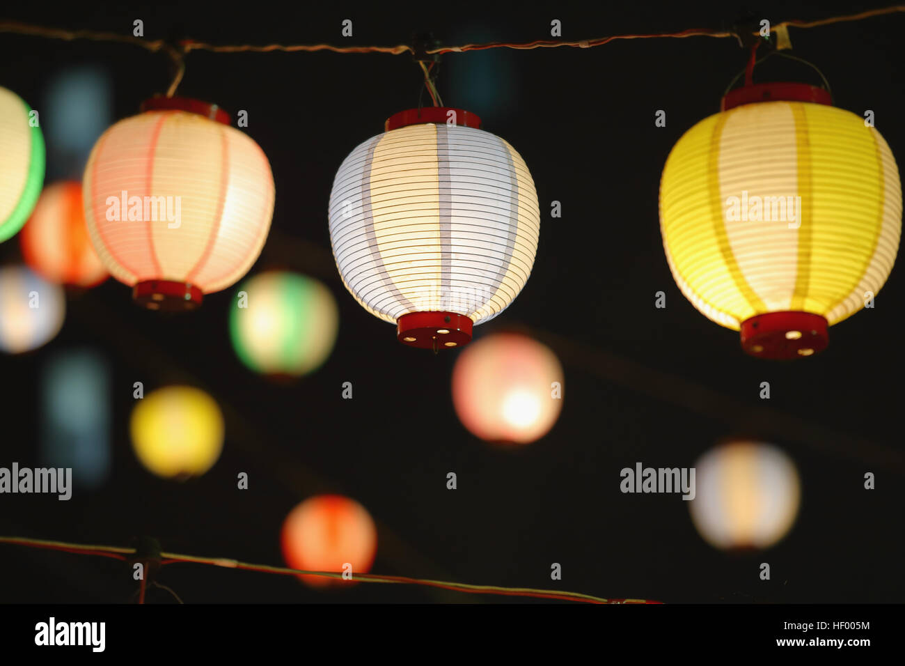 Paper lanterns at Japanese traditional Bon Odori festival - Stock Image