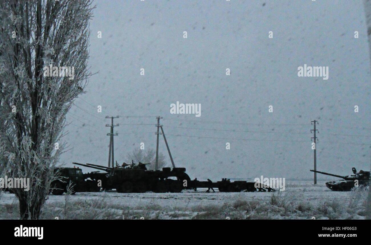 Krasnoarmeysk. 24th Dec, 2016. Photo taken on Dec. 24, 2016 shows Ukrainian army's heavy artillery and tanks withdrawn Stock Photo