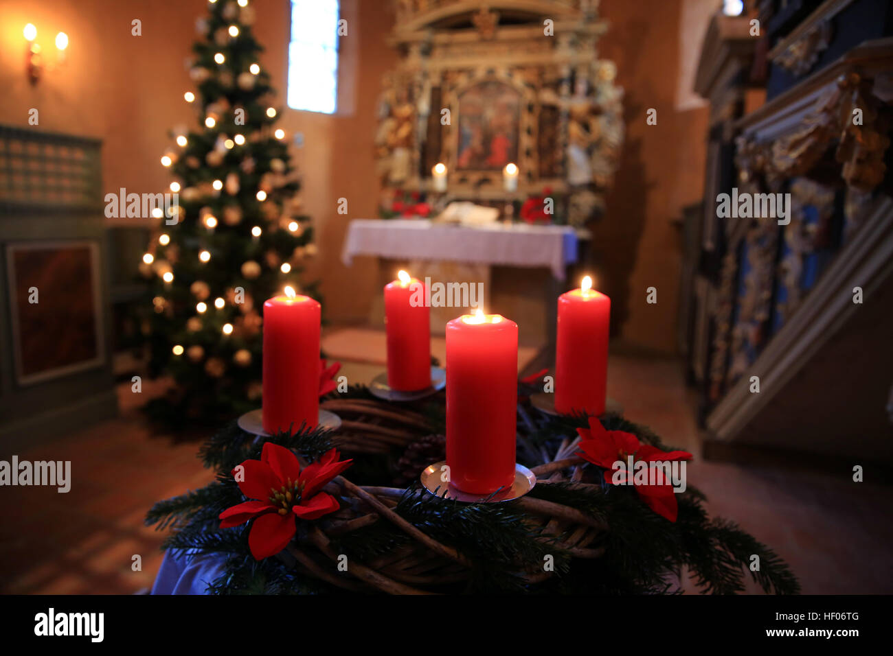 Magdeburg Germany 24th Dec 2016 An Advent Wreath Can Be Seen Inside