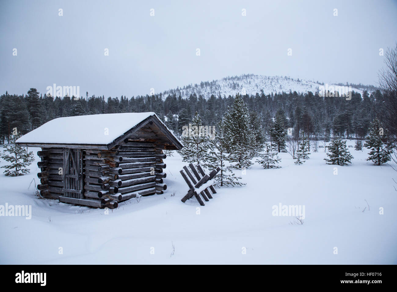 Salla, Finland. 25th Dec, 2016. Steady snowfall overnight and -5 Centigrade temperatures contributed to a beautiful Stock Photo