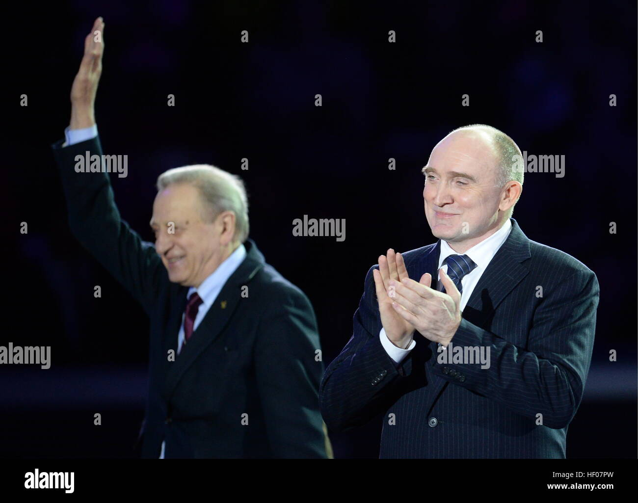 Chelyabinsk, Russia. 25th Dec, 2016. 1976 Olympic champion, Russian ice dancer Alexander Gorshkov, president of - Stock Image