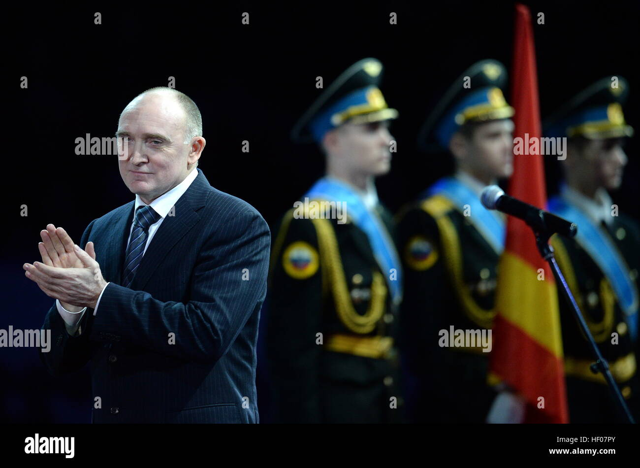 Chelyabinsk, Russia. 25th Dec, 2016. Chelyabinsk Region Governor Boris Dubrovsky claps his hands an award ceremony - Stock Image