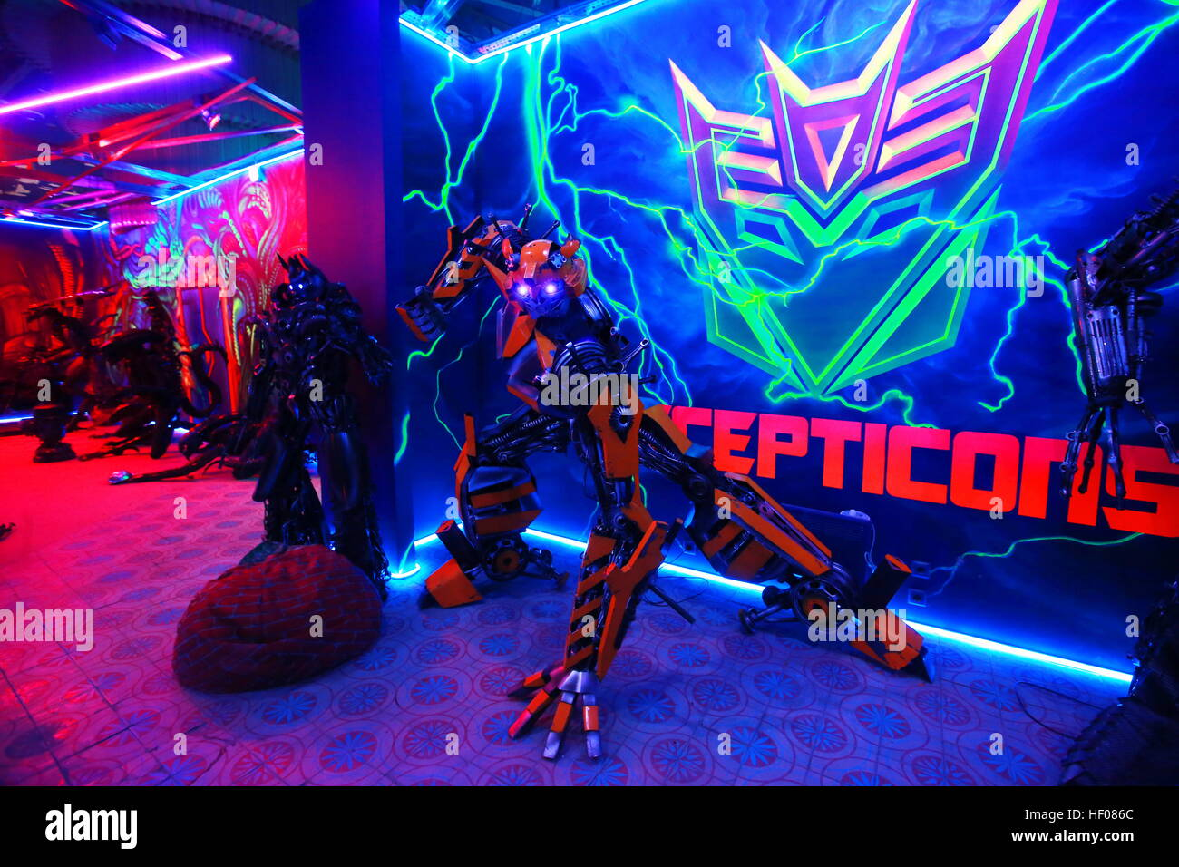 Moscow, Russia. 25th Dec, 2016. Showpieces displayed at the Rise of the Machines interactive museum dedicated to - Stock Image