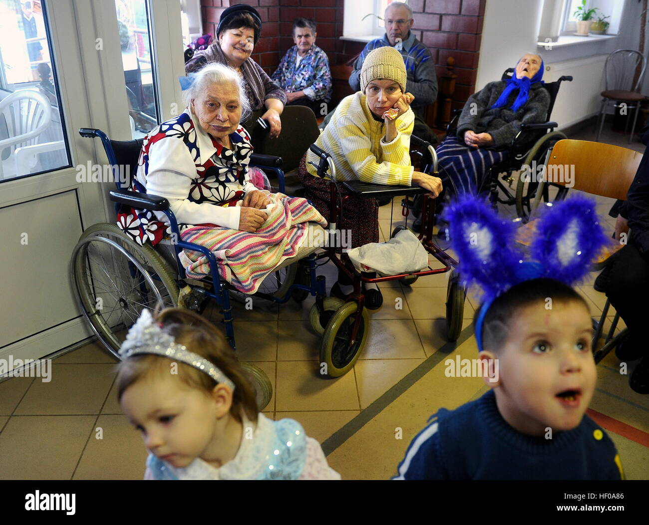 Brest Region, Belarus. 25th Dec, 2016. A New Year and Christmas celebration for elderly people, people with disabilities, - Stock Image
