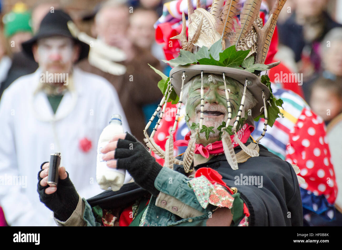 Wantage, UK. 26 Dec 2016. The character of Jack Vinney played in a traditional Mummers Folk Play performed annuallyStock Photo