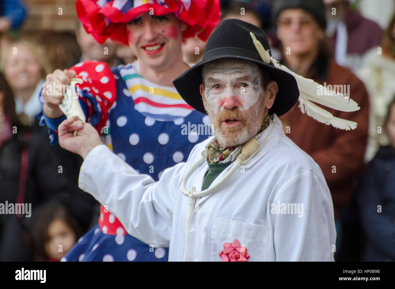 Wantage, UK. 26 Dec 2016. The character of Doctor Good played in a traditional Mummers Folk Play performed annually on Boxing Day in Wantage Market Place. Stock Photo