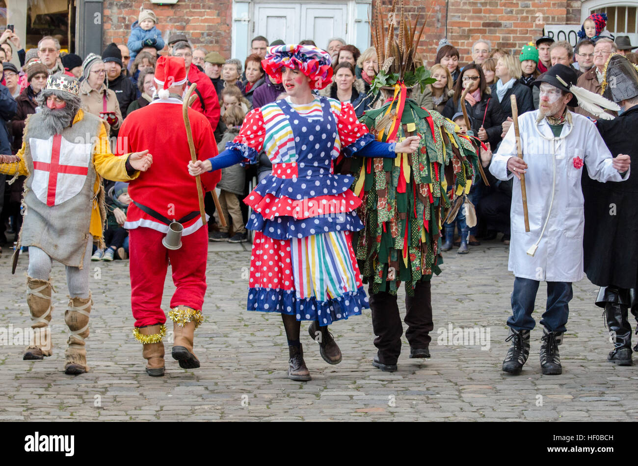 Wantage, UK. 26 Dec 2016. The characters of a traditional Mummers Folk Play performed annually on Boxing Day in Stock Photo