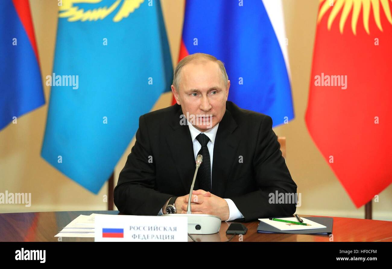 Russian President Vladimir Putin during the Collective Security Treaty Organization meeting at the Constantine Palace - Stock Image