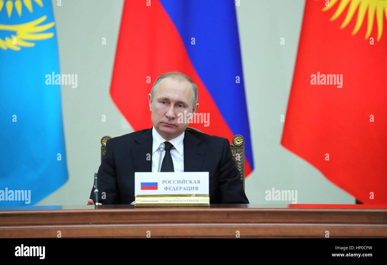 Russian President Vladimir Putin during the Supreme Eurasian Economic Council meeting at the Constantine Palace - Stock Image
