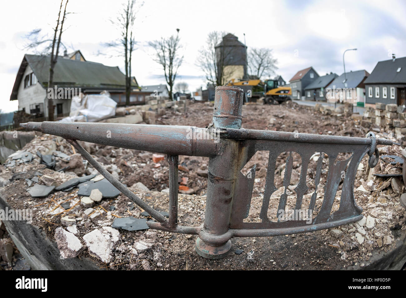 The steeple top of a demolished in Neustadt am Rennsteig, Germany, 15 December 2016. The building was demolished - Stock Image