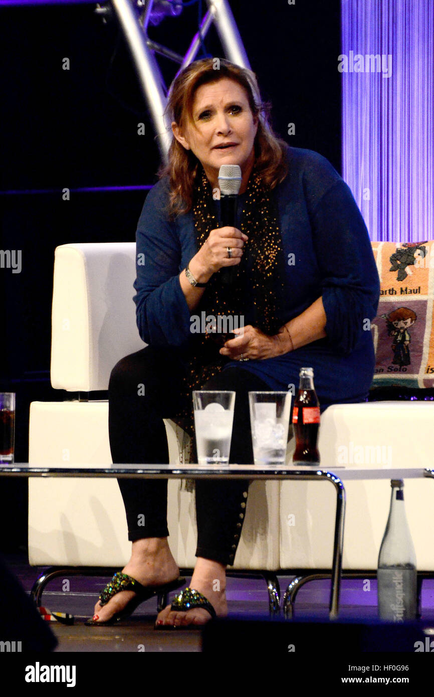 Carrie Fisher (Princess Leia) attends the Star Wars Celebration Europe on the fairground, Essen on July 27, 2013 - Stock Image