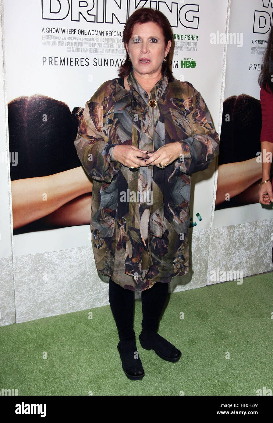 FILE PIC: Hollywood, CA, USA. 7th Dec, 2010. 27 December 2016 - Carrie Fisher, the iconic actress who portrayed - Stock Image