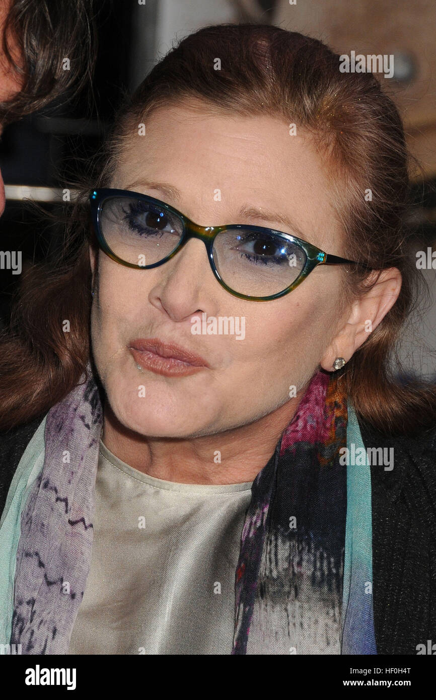 FILE PIC: Hollywood, CA, USA. 3rd Nov, 2014. 27 December 2016 - Carrie Fisher, the iconic actress who portrayed - Stock Image