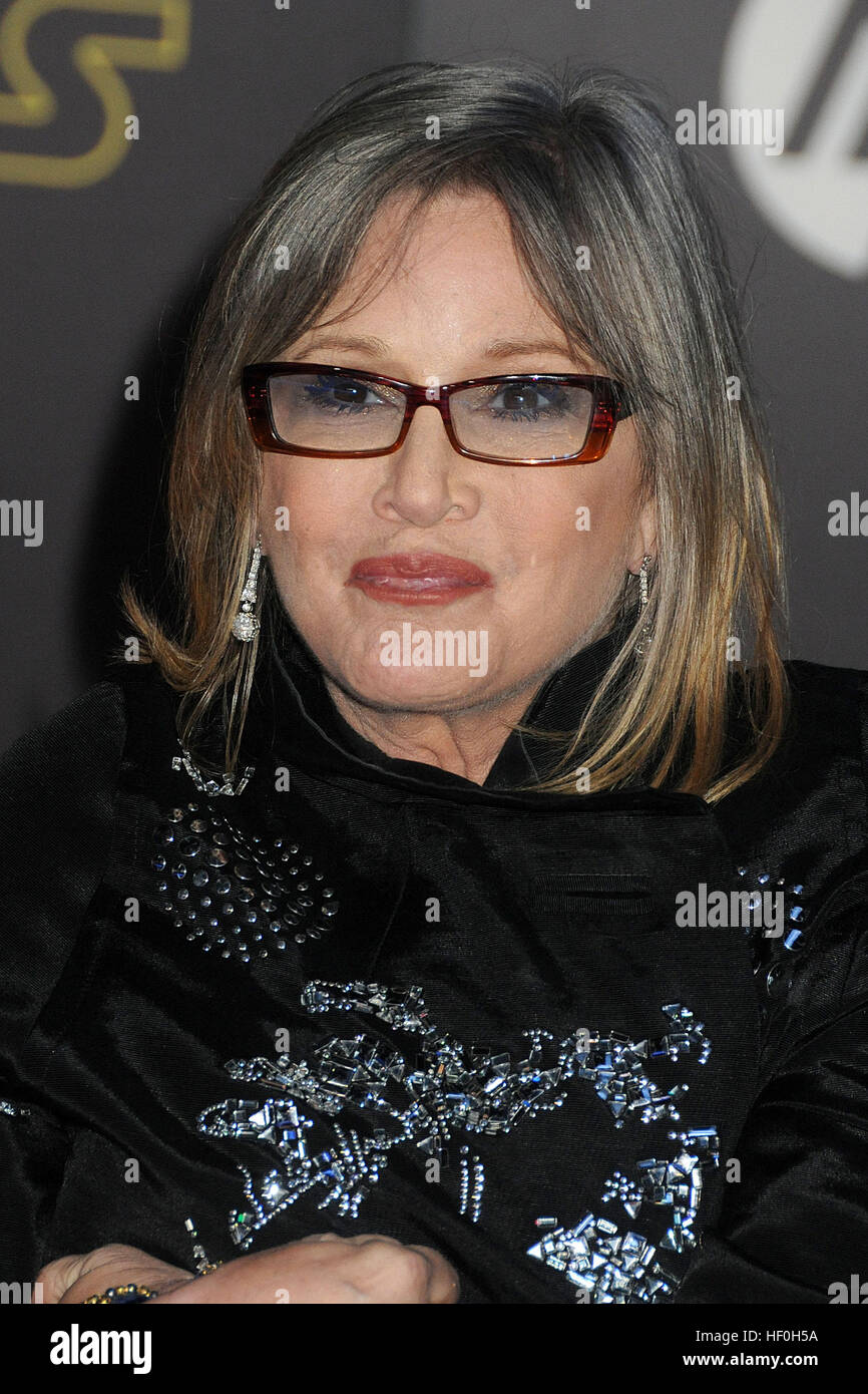 FILE PIC: Hollywood, CA, USA. 14th Dec, 2015. 27 December 2016 - Carrie Fisher, the iconic actress who portrayed - Stock Image