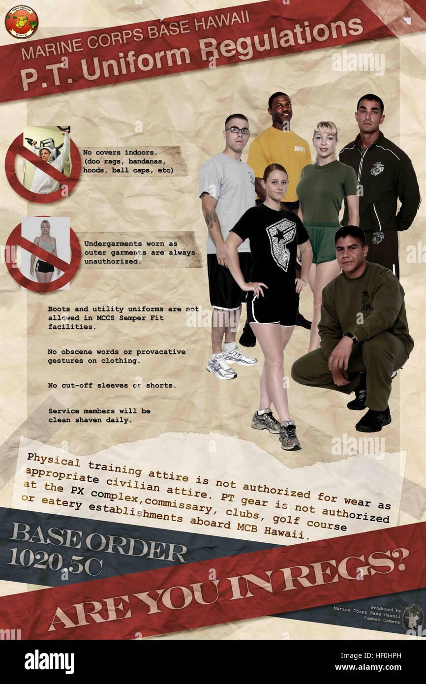 U.S. Marine Corps Base Hawaii PT uniform regulations ...