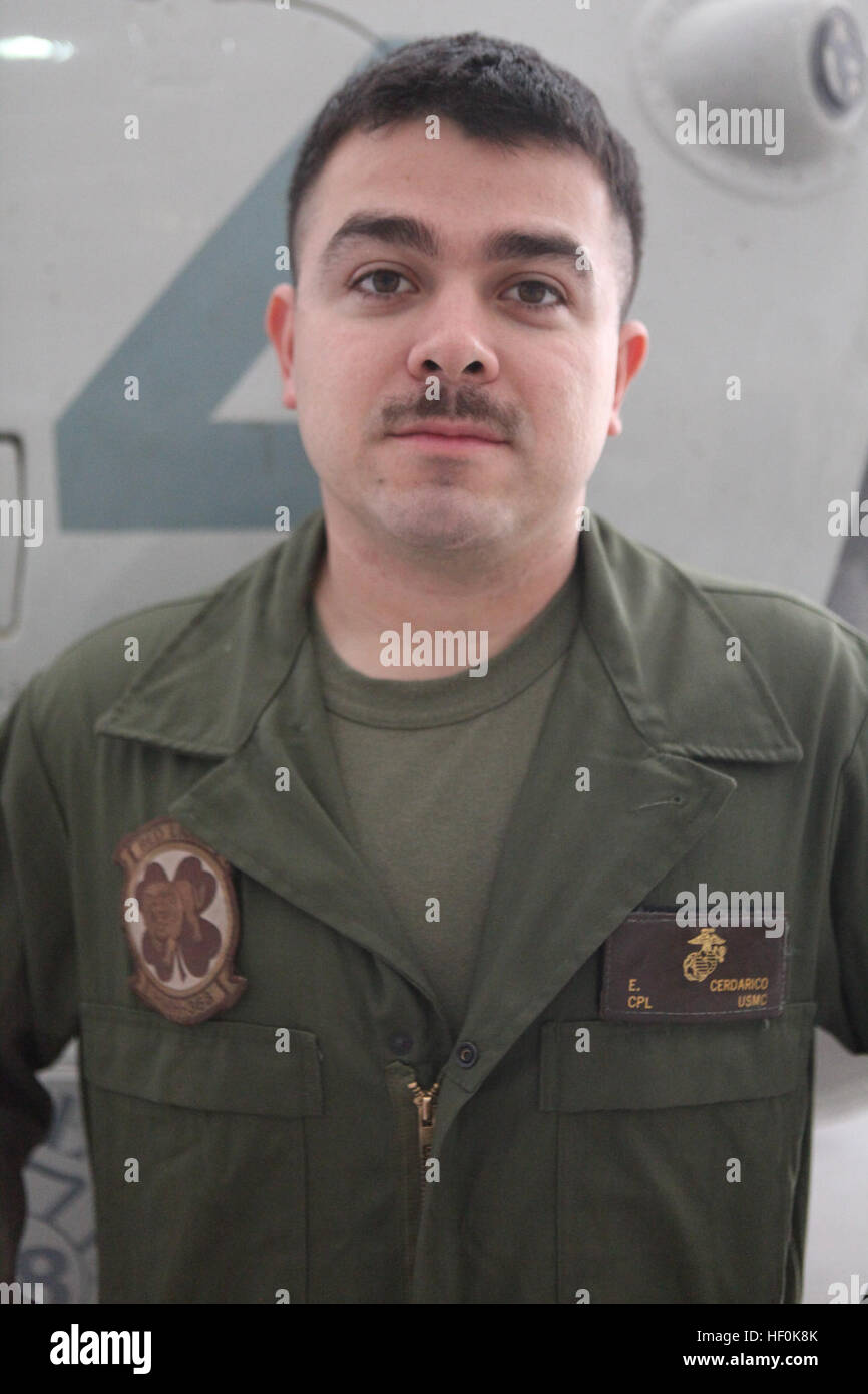 Cpl. Emilio Cerdarico is a CH-53D Sea Stallion mechanic with Marine Heavy Helicopter Squadron 363. Cerdarico, a native of San Antonio, Texas, said he joined the military to serve his country and travel the world. HMH-363 Marines 111003-M-UB212-007 Stock Photo