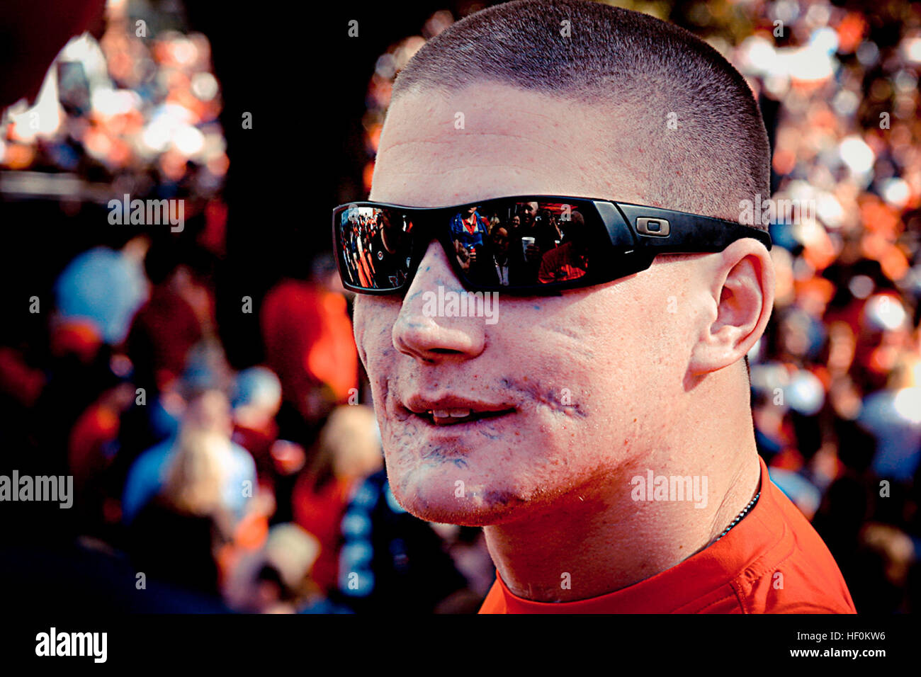 Lance Cpl. Kyle Carpenter, a 22 year-old Marine and wounded warrior from Walter Reed National Military Medical Center, - Stock Image