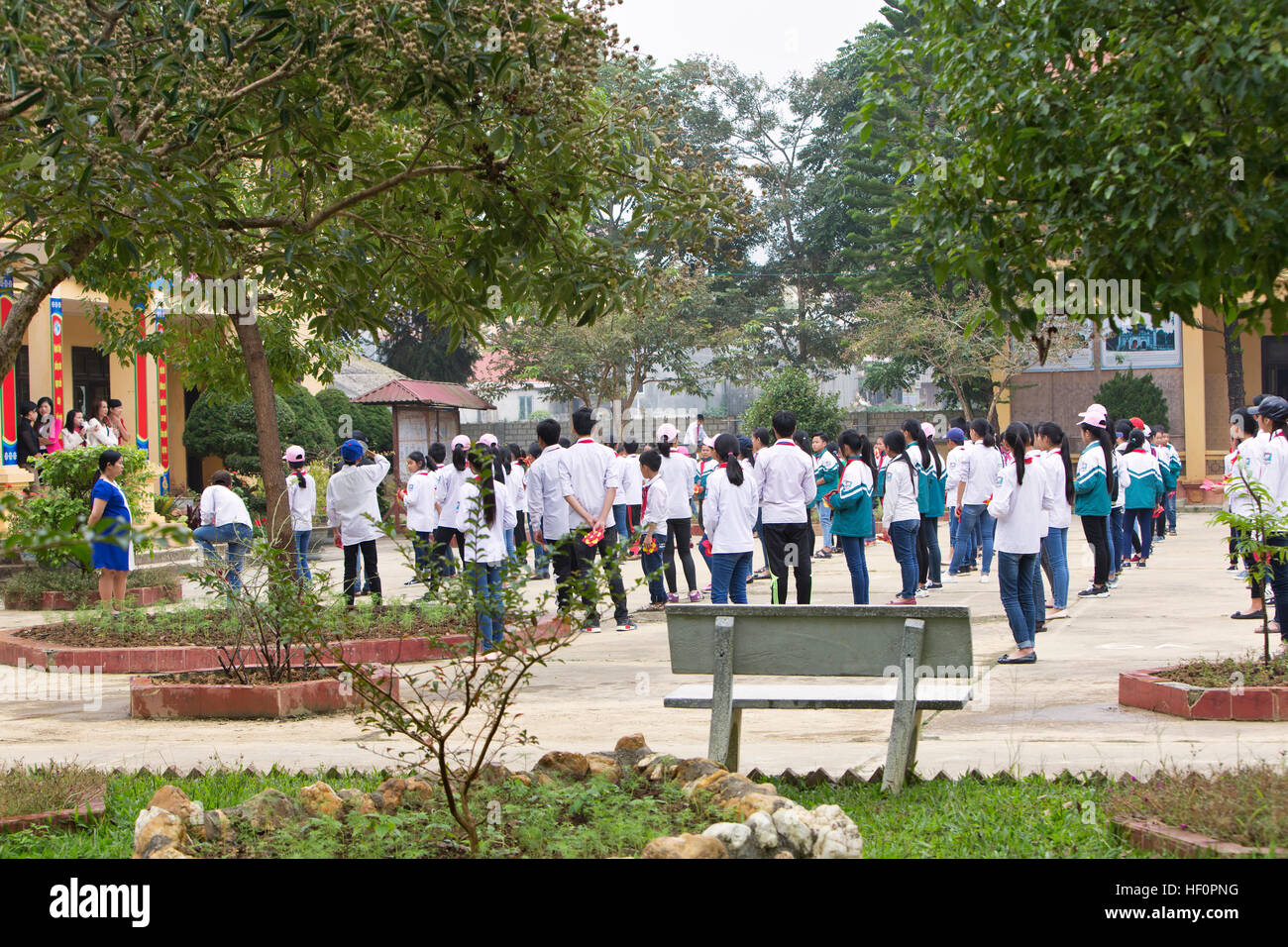 Students, morning assembly. - Stock Image