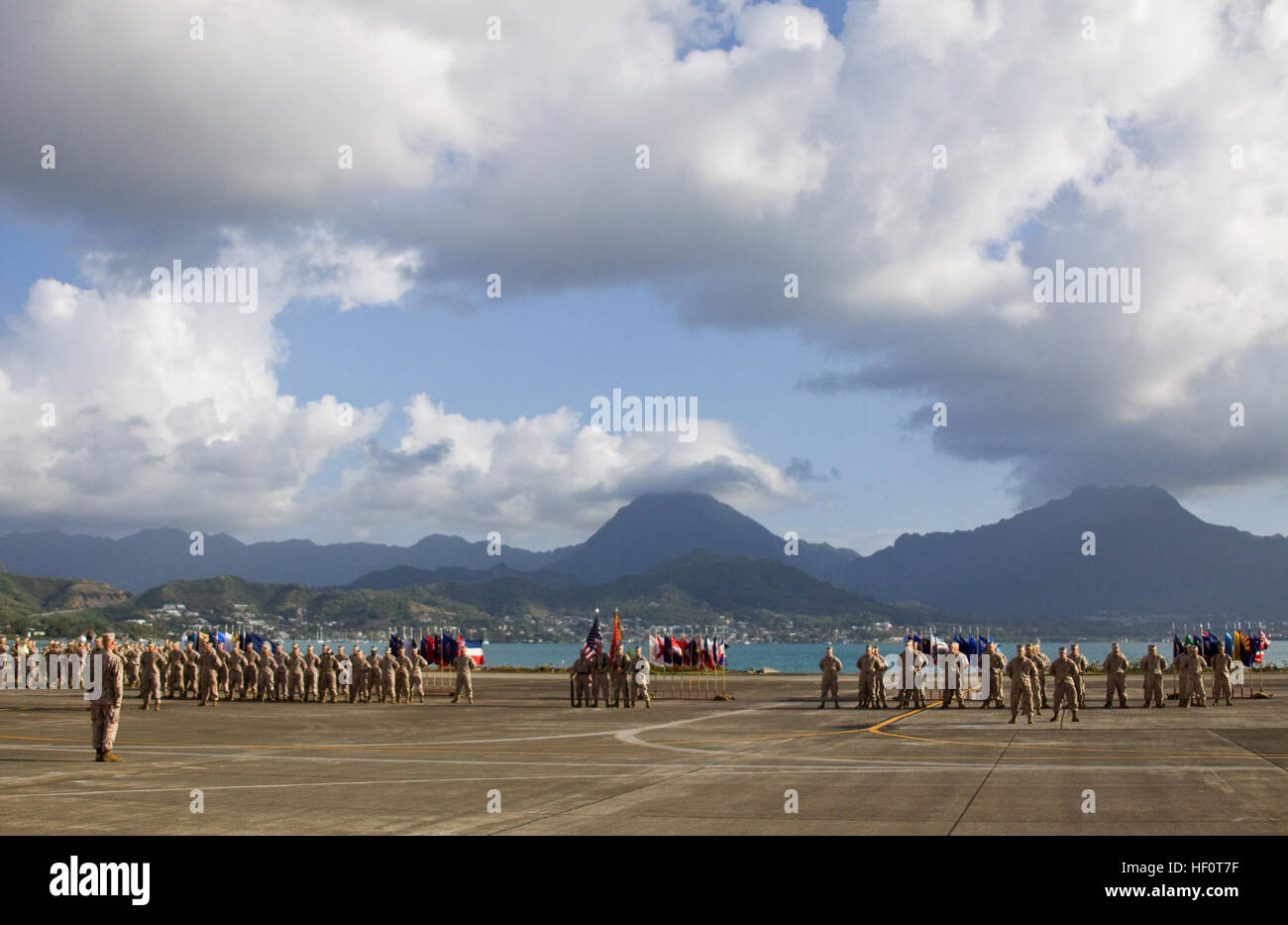 Marines and sailors of Marine Heavy Helicopter Squadron 363 stand in formation during a change of command and re Stock Photo