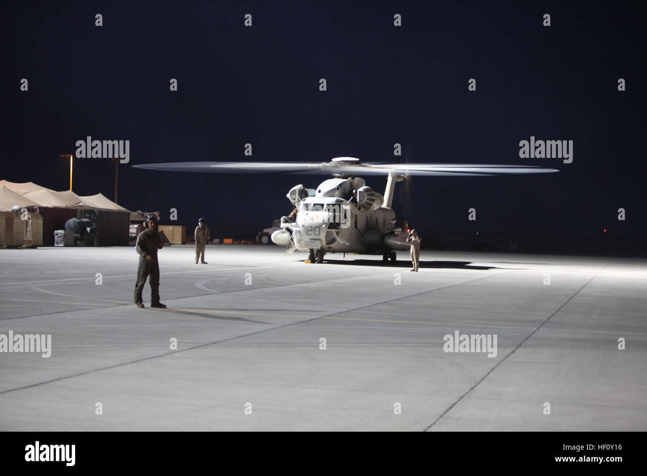 A CH-53D Sea Stallion with Marine Heavy Helicopter Squadron 362 prepares to fly over Helmand province, Afghanistan, - Stock Image