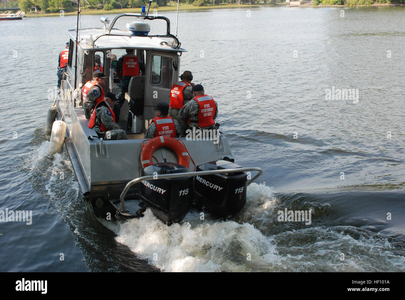 New York Naval Militia Patrol Boat 230 underway with a New York Guard (state defense force) Search and Rescue Team - Stock Image