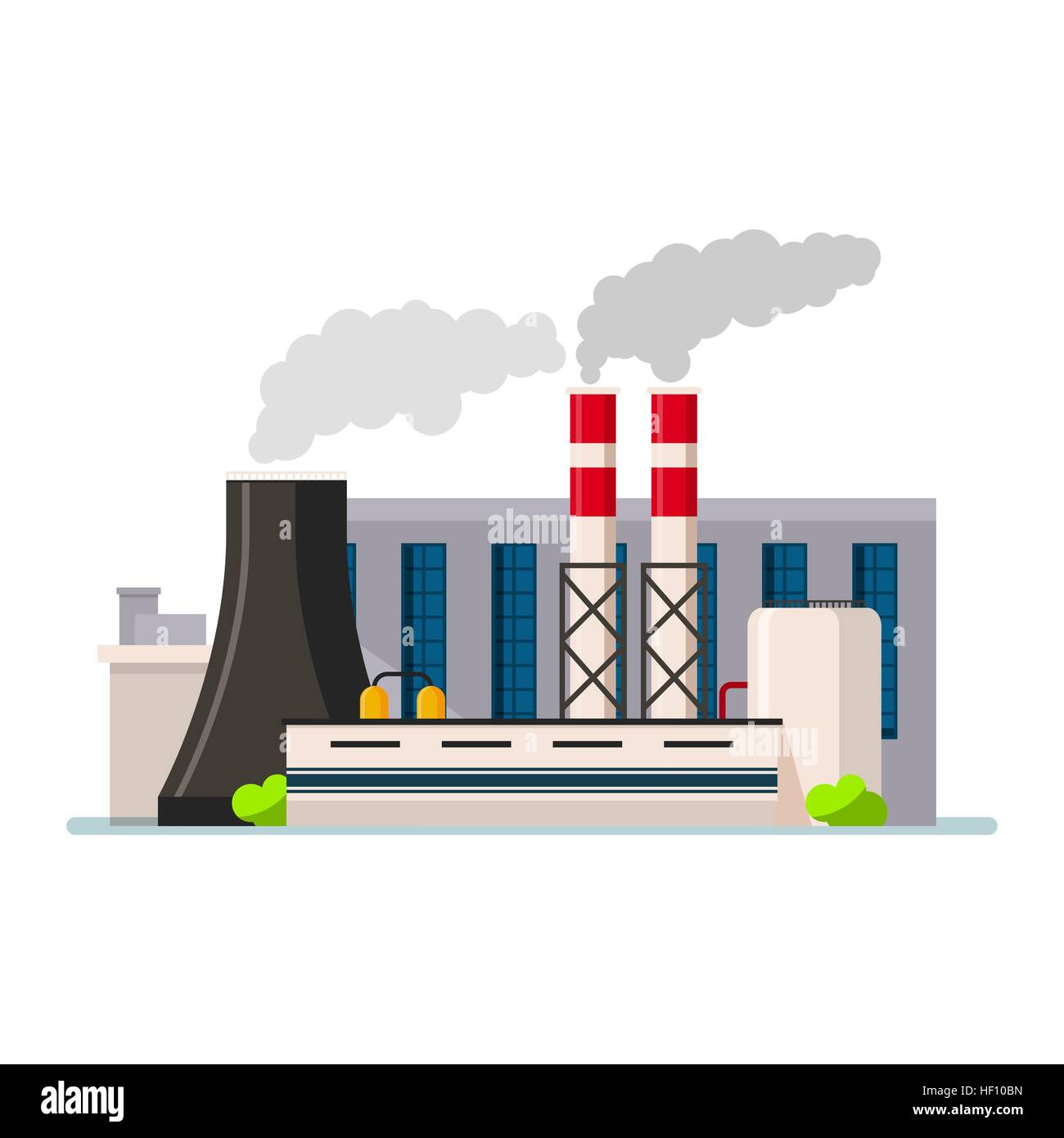 Factory building icon vector flat style. Manufacturing buildings. Stock Vector