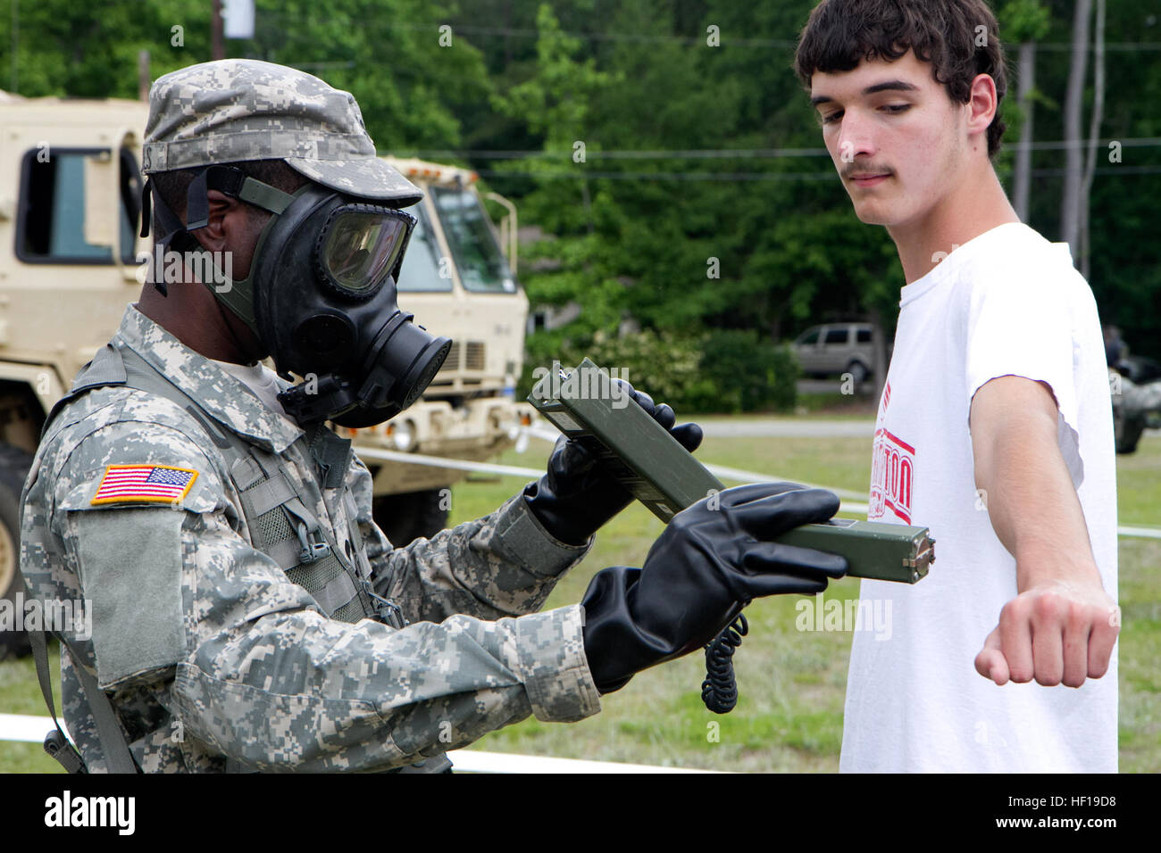 A U.S. Army National Guard Chemical Operations Specialist assigned to the 108th Chemical Company, S.C Army National Stock Photo