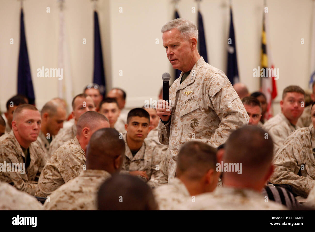 U.S. Marine Corps General James F. Amos, Commandant of the Marine Corps, answers questions from Department of Defense Stock Photo